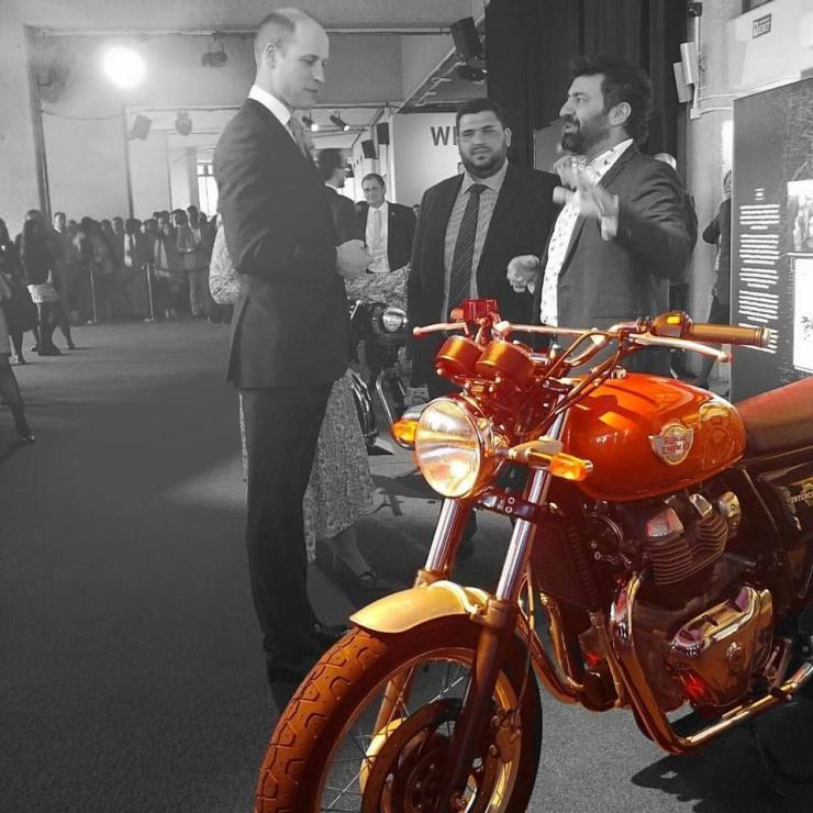 Prince William checks out the Royal Enfield Interceptor 650 parallel twin motorcycle