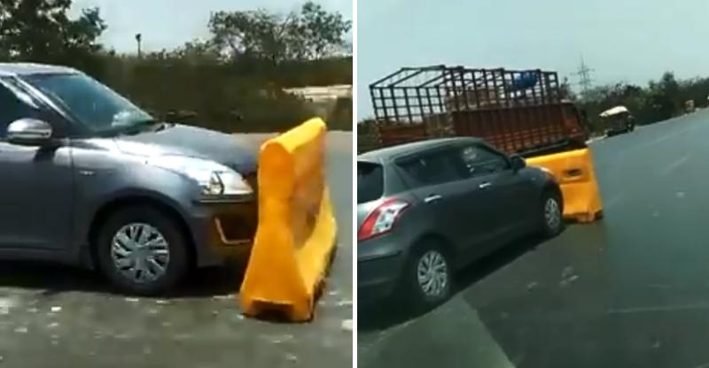 Crazy Maruti Swift driver does not want to pay toll; Drives away with barricade [VIDEO]