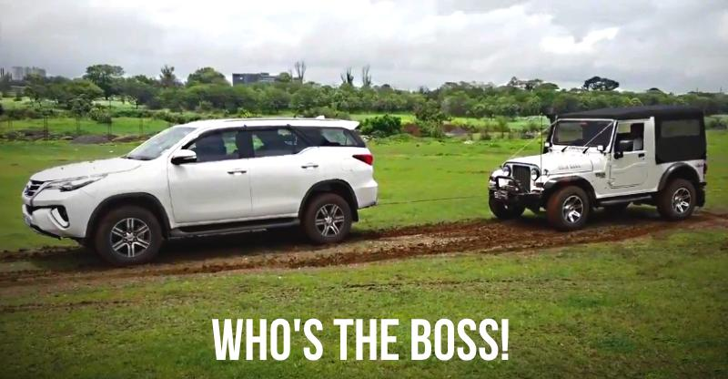 Mahindra Thar vs new Toyota Fortuner SUV shows the power of 4X4 [Video]