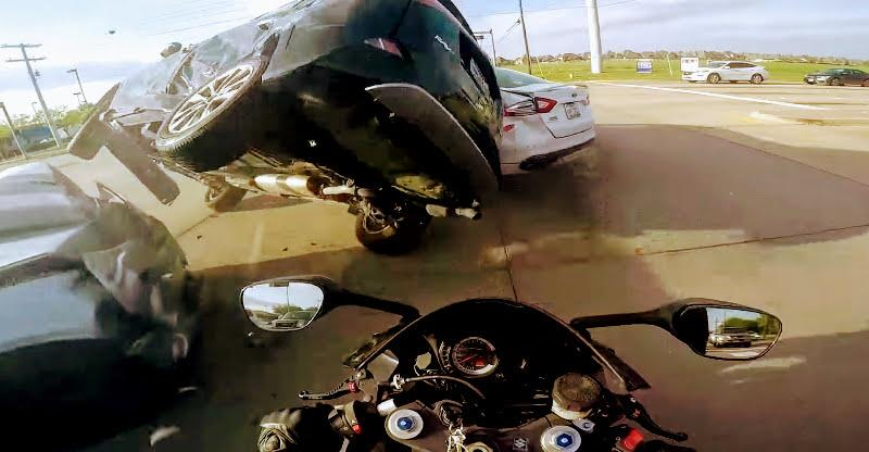 Lucky escape! Red light jumping car almost kills this motorcycle rider [VIDEO]