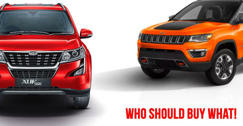 Facelifted Mahindra XUV500 vs Jeep Compass – Detailed comparison of price, specs, features & more