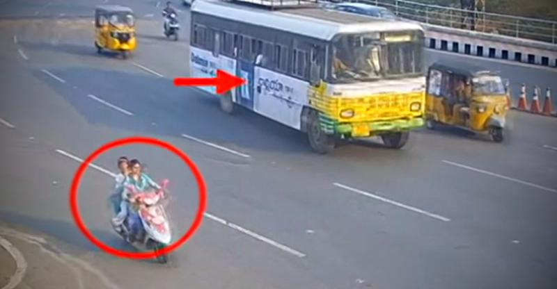 Women on scooter miraculously escape getting crushed by a bus [Video]