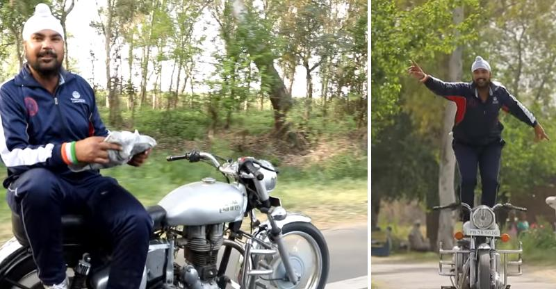 India's fastest stuntman casually breaks laws on a Royal Enfield motorcycle on public roads [VIDEO]