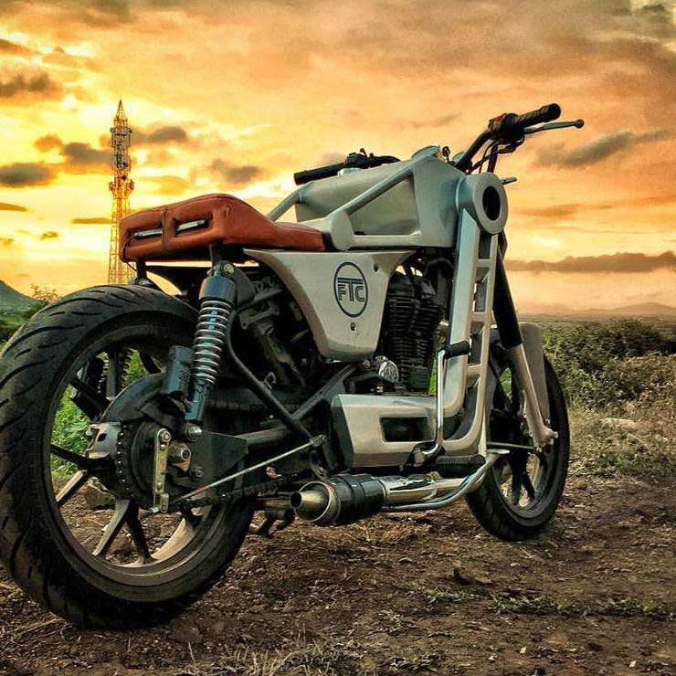 Modified Royal Enfield Classic 500 'Bazuka' looks like a Confederate Fighter motorcycle