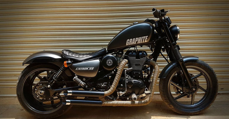 Check out this really cool modified Royal Enfield Thunderbird 350 'Graphite'