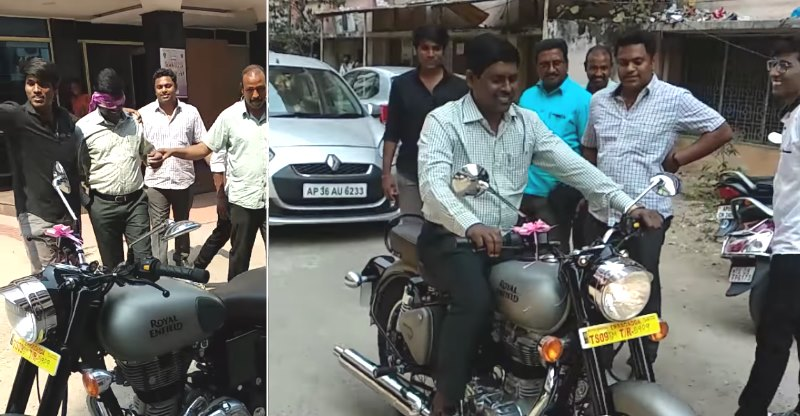 Surprise! Sons gift dad a Royal Enfield motorcycle, happiness all around