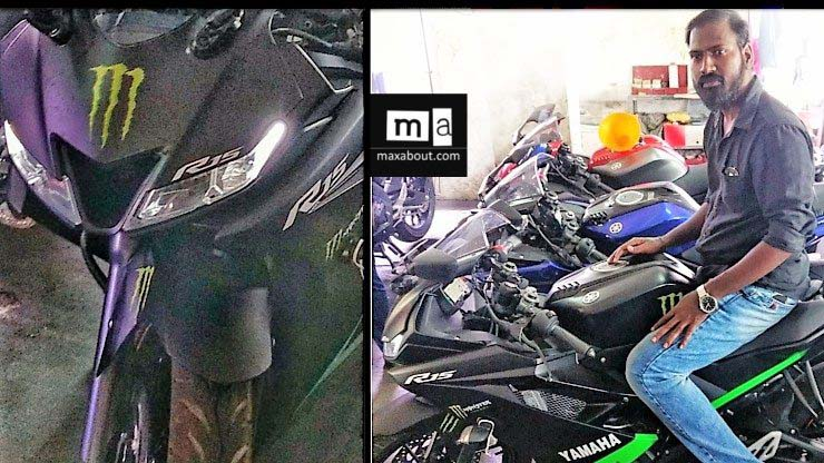 Yamaha R15 V3.0 motorcycle in new colour spotted at a dealership in Chennai