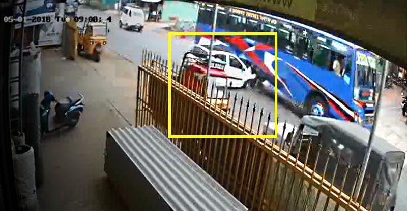 Car drives straight into bus: Caught on cam