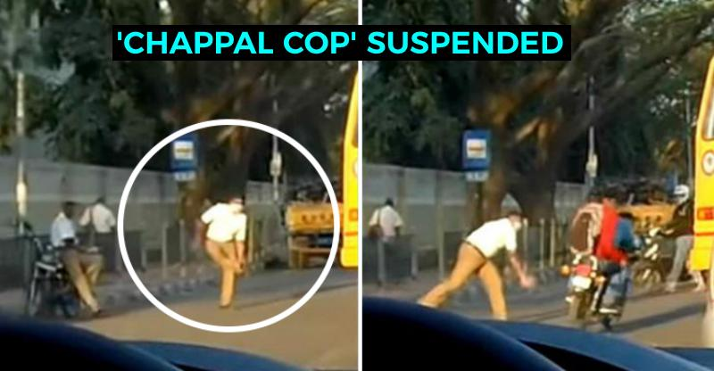 Traffic cop who hurled his 'chappal' at unhelmeted motorcycle riders SUSPENDED