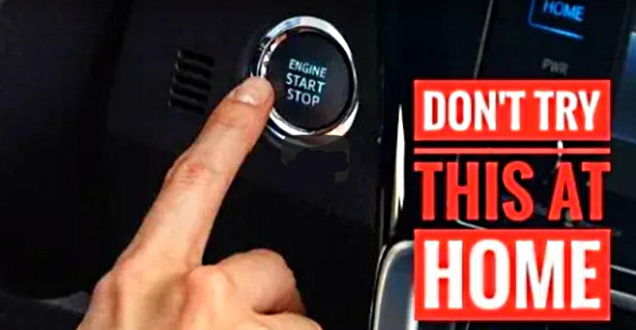 What happens when you press the 'start-stop' button in a moving car [Video]