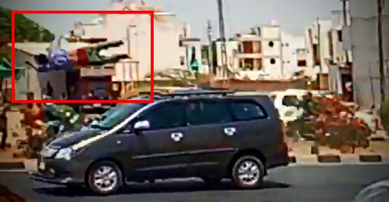 Toyota Innova hits & runs over a pedestrian in a BRUTAL crash; Caught on cam