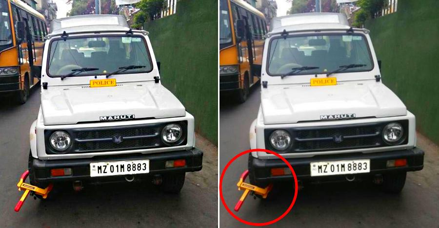 Indian cop's Maruti Gypsy locked with a wheel clamp for parking in no-parking zone