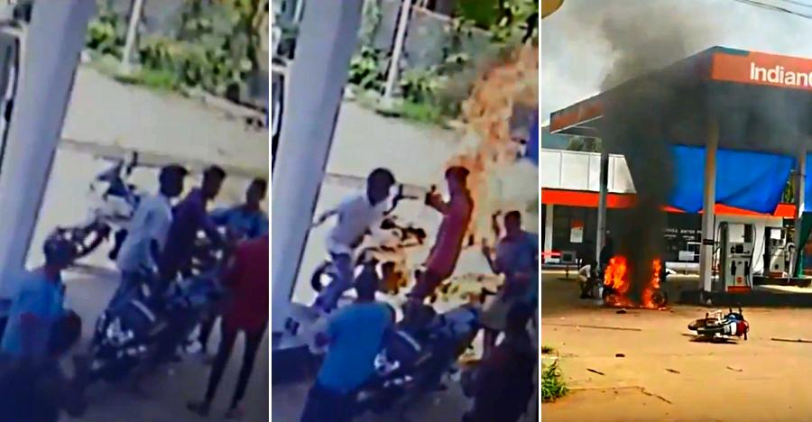 Hero Karizma rider set on fire in petrol bunk for delay in tendering change: Caught on CCTV