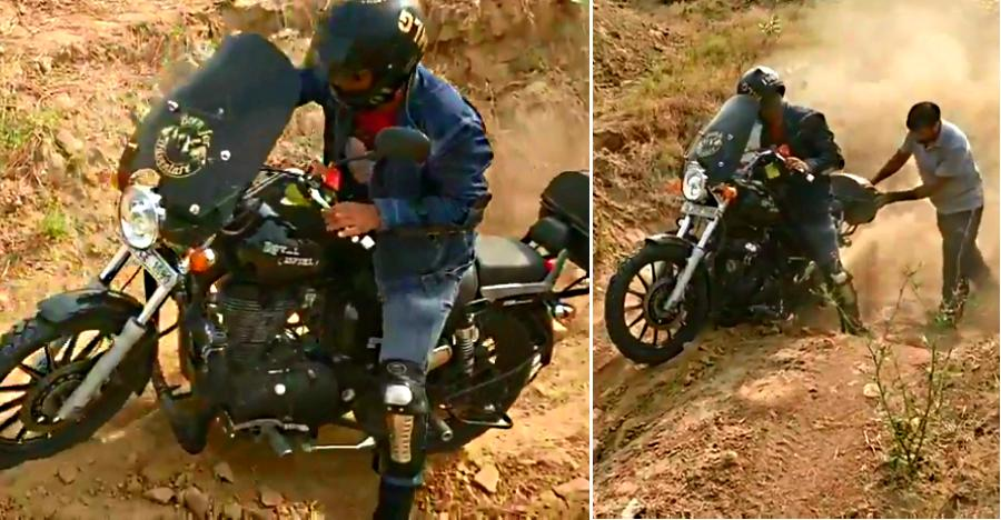 HEAVY Royal Enfield Thunderbird + off-roading: Here's the result [Video]