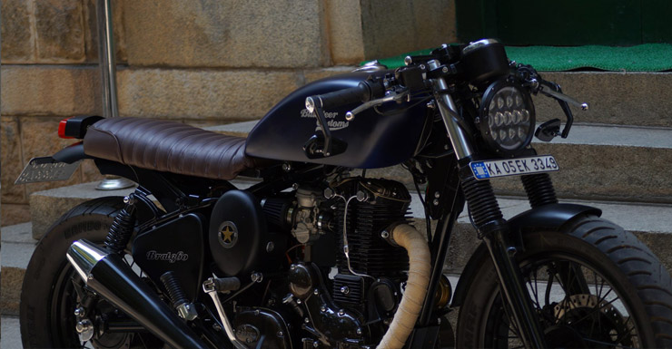 This brat style modified Royal Enfield Thunderbird from Bulleteer Customs is mean muscle