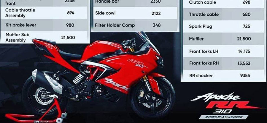 If you crash a TVS Apache RR310, repairs could cost this much: Official spare parts rate card