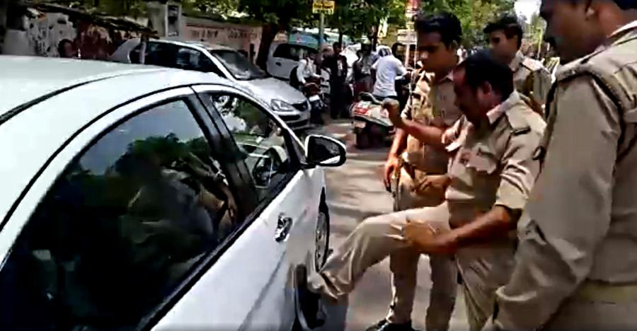 UP cop kicks Honda City and abuses driver: Caught on cam