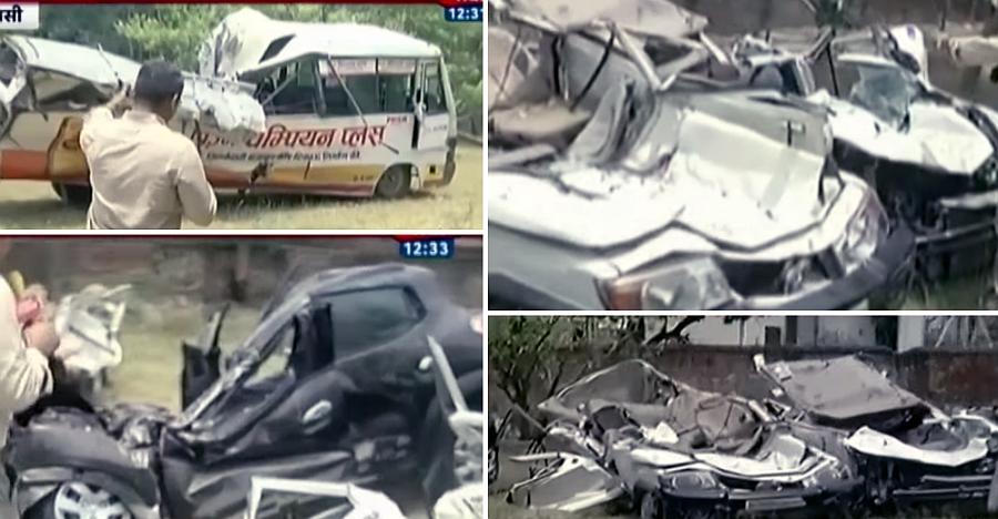Crushed vehicles from yesterday's Varanasi flyover crash [VIDEO]
