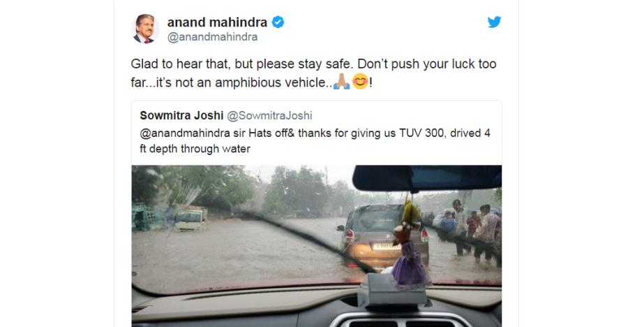 Anand Mahindra to TUV300 owner – It's not an amphibious vehicle: Here's why he said that