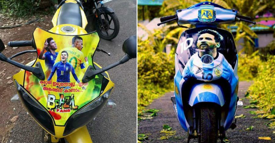 Kerala vehicles go football crazy: From Yamaha R15 to Honda Activa