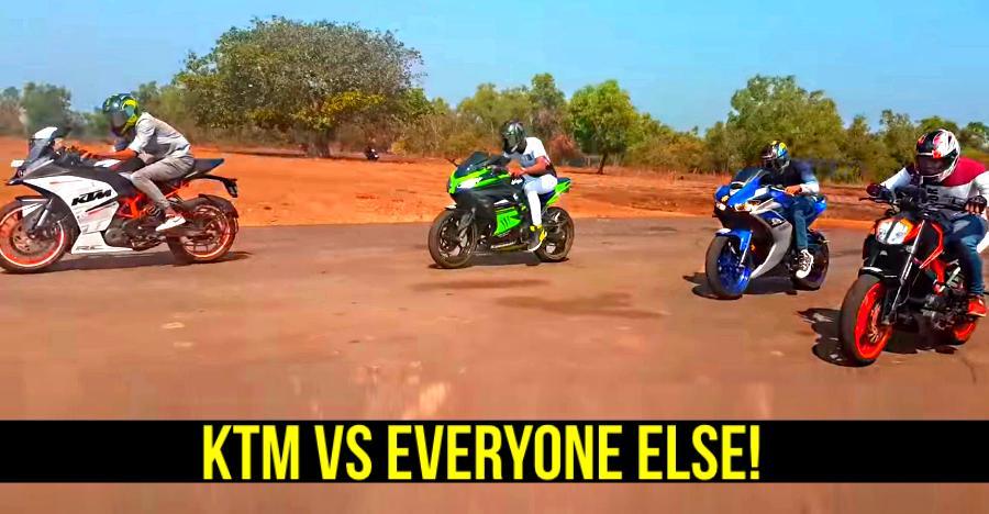 KTM Duke & RC 390 FASTER than Yamaha R3, Kawasaki Ninja 300, TVS Apache 310 & Bajaj Dominar: Here's proof [Video]