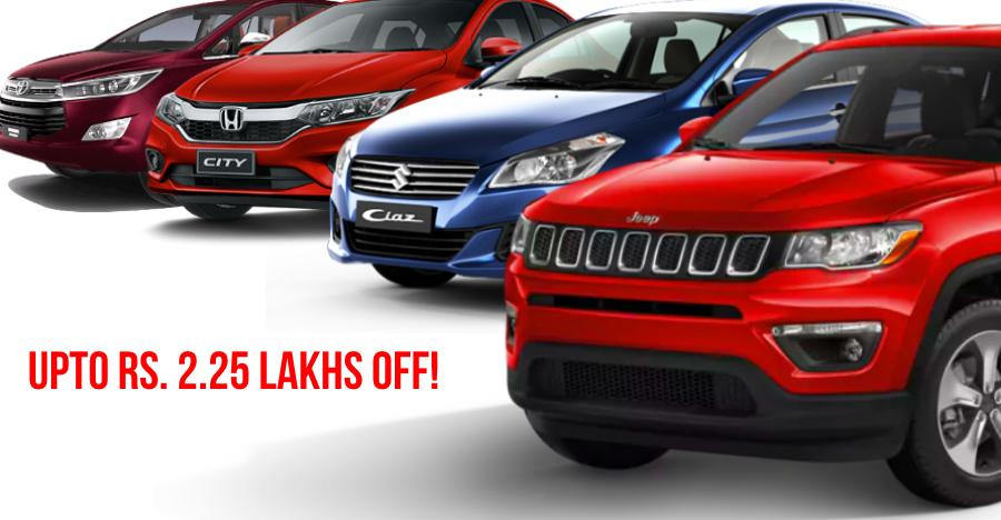 MASSIVE discounts of up to Rs. 2.25 lakhs on cars & SUVs: Maruti Ciaz to Jeep Compass