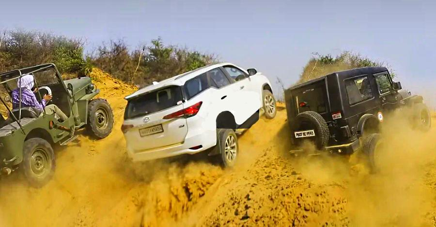 Toyota Fortuner vs Mahindra Thar, Isuzu V-Cross, Ford Endeavour & Jeep CJ3B in an off-road battle [Video]