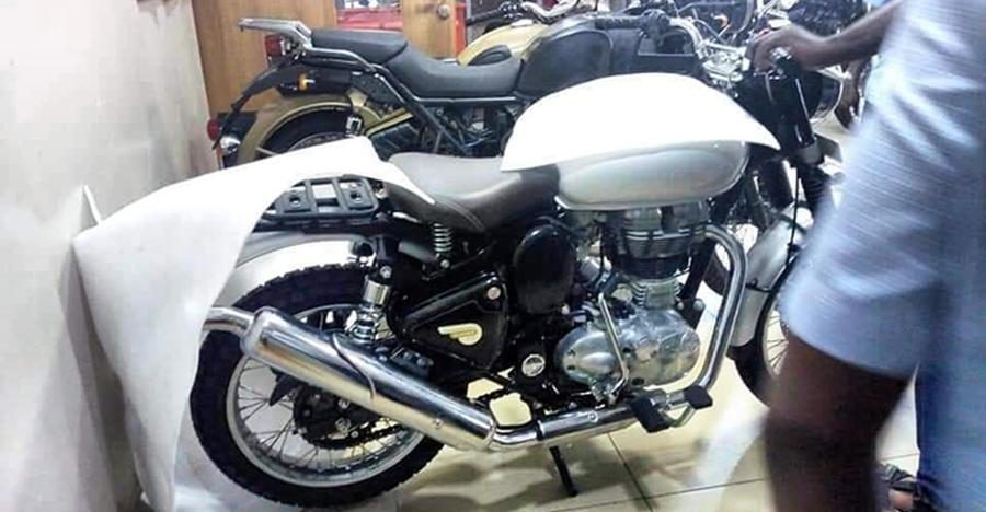 Royal Enfield Classic Scrambler spied at dealership in India