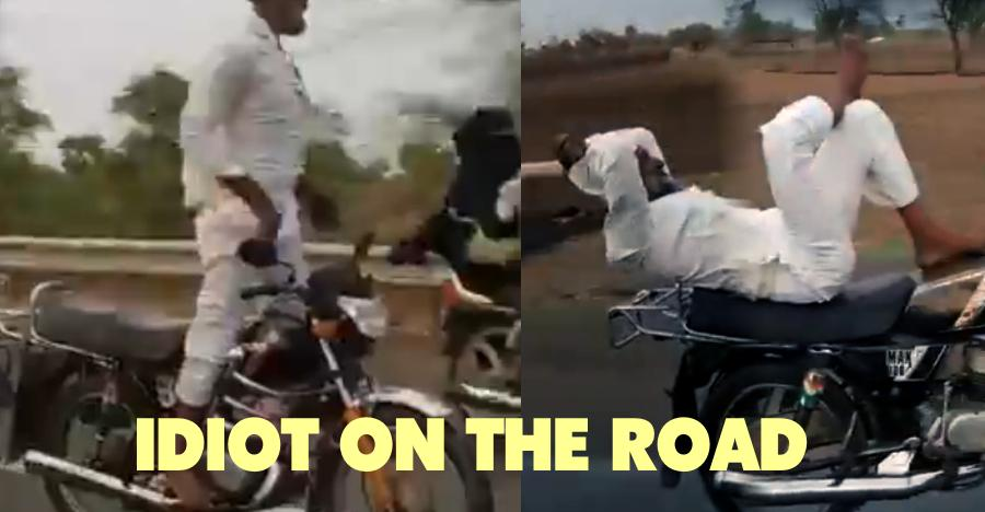 Dangerous stunt by old man on public road! [Video]