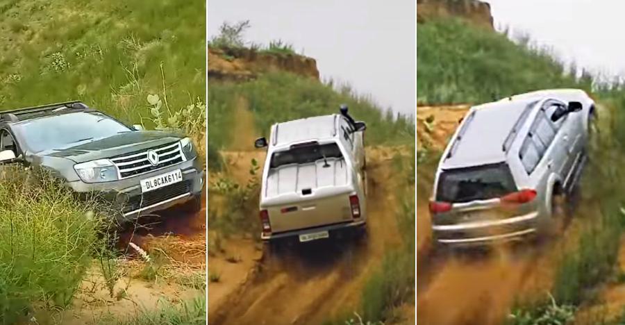Isuzu V-Cross & Mitsubishi Pajero Sport BEAT Ford Endeavour, Renault Duster & Tata Xenon in a CRAZY hill climb [Video]