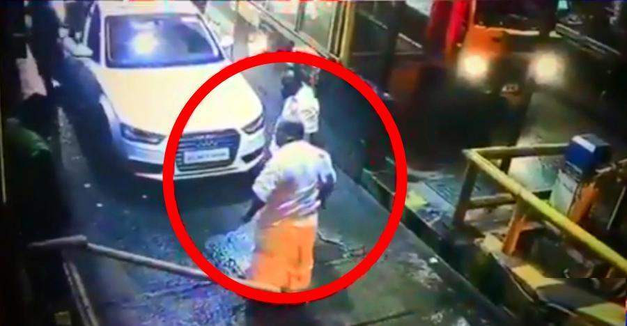MLA In Audi Luxury Car BREAKS Toll Gate Caught On CCTV - Barrier audi