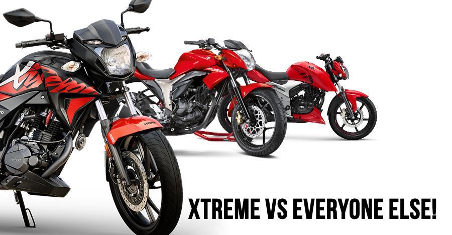 Hero Xtreme 200R vs Suzuki Gixxer vs Yamaha FZ vs TVS Apache 160 vs Honda CB Hornet