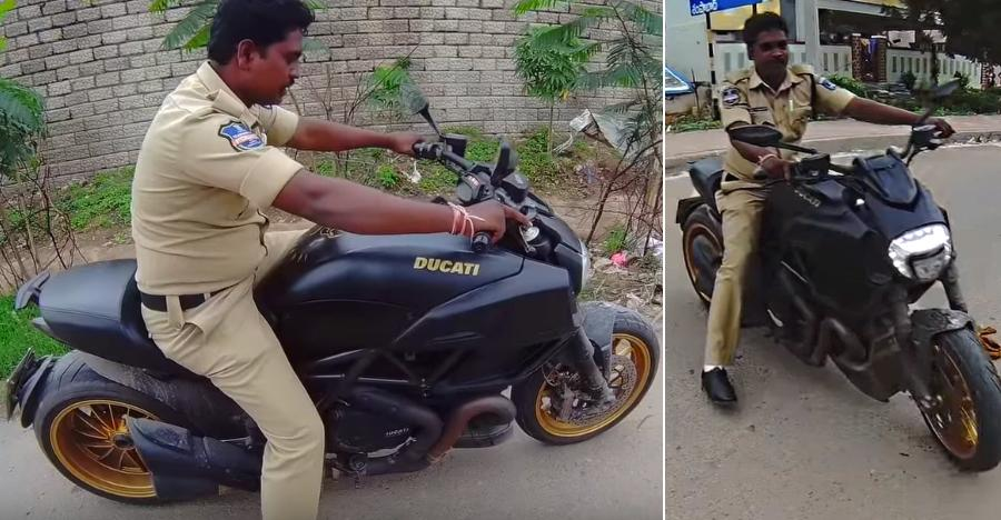 Hyderabad Cop Riding A Ducati Diavel Superbike What S Happening