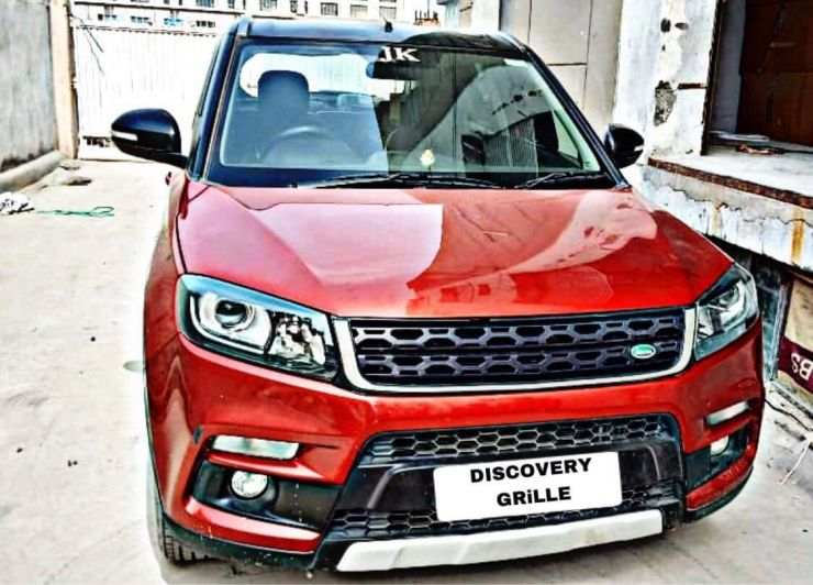 maruti brezza fitted with land rover grille