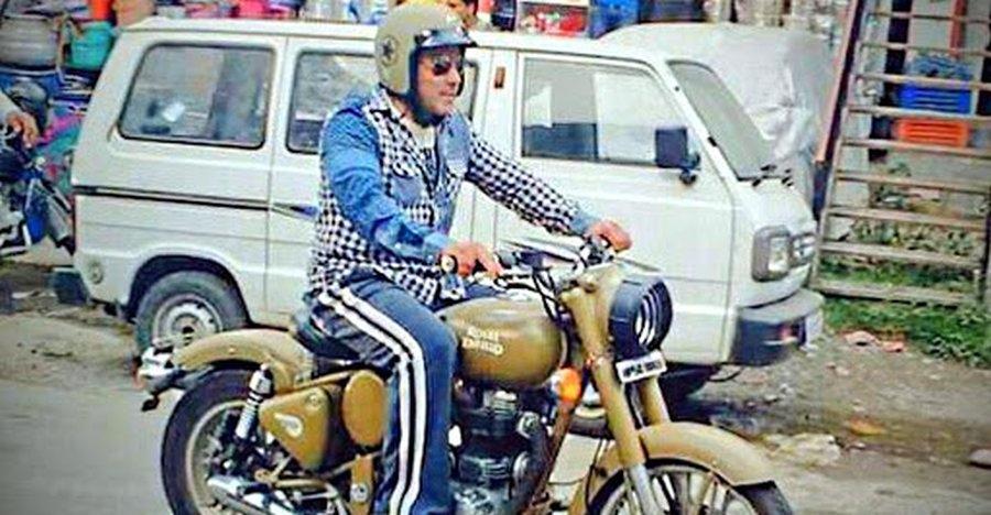 Salman Khan Riding A Royal Enfield Desert Storm