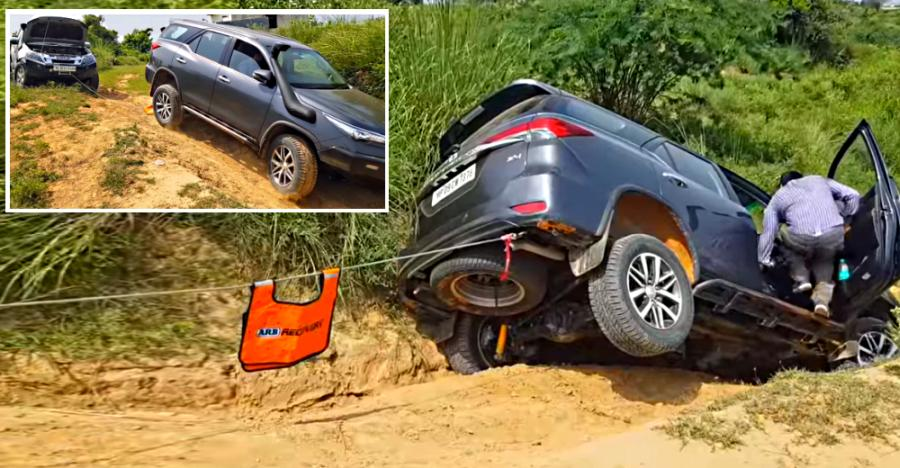 Toyota Fortuner Getting Winched Out By A Isuzu V Cross