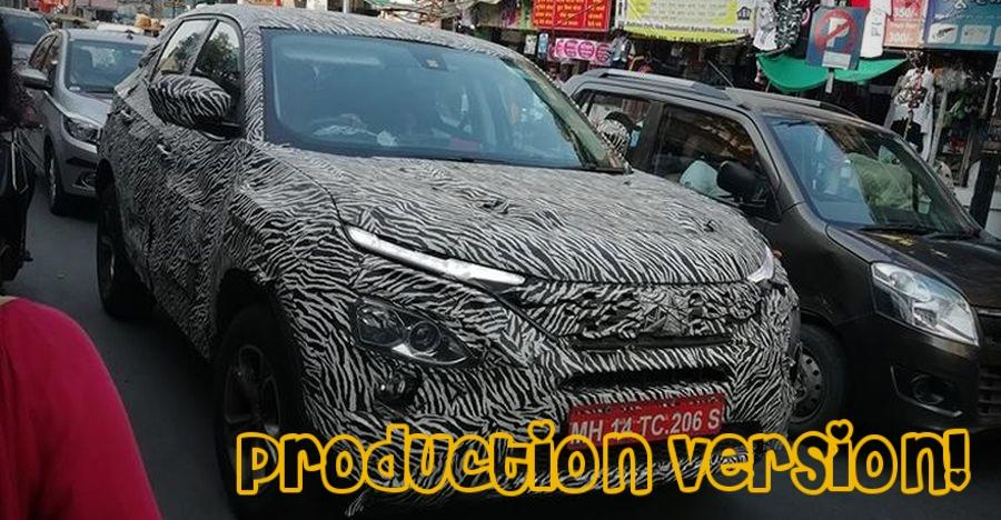 Tata Harrier Production Version Spied Testing At Pune Featured