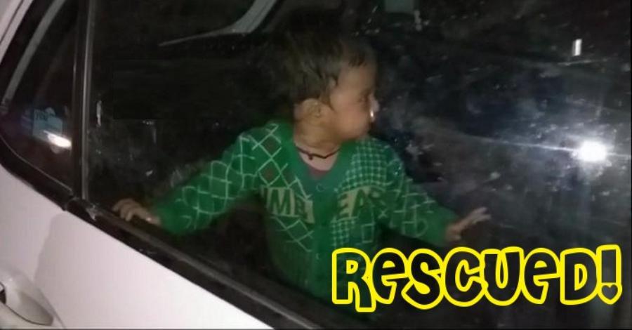 Child locked in car by parents; alert locals rescue kid