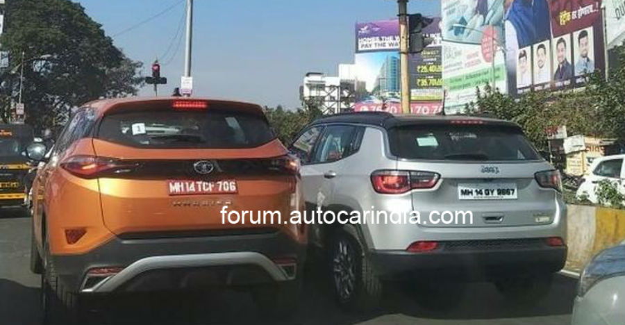 Tata Harrier shows off its street presence next to a Jeep Compass