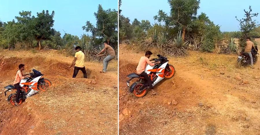 KTM RC200 gets STUCK off the road: Bajaj Pulsar 220 to the rescue [Video]