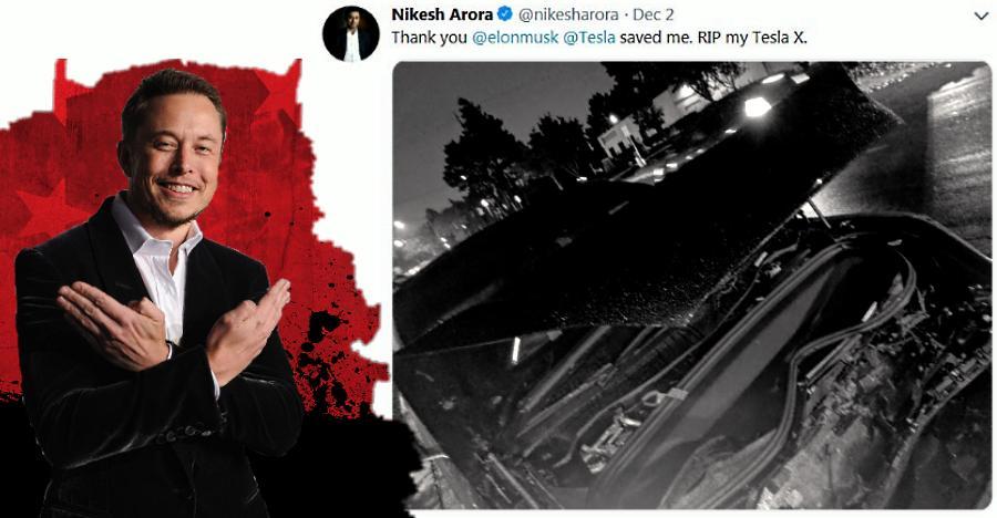 CEO Nikesh Arora thanks Elon Musk after a massive Tesla Model X crash