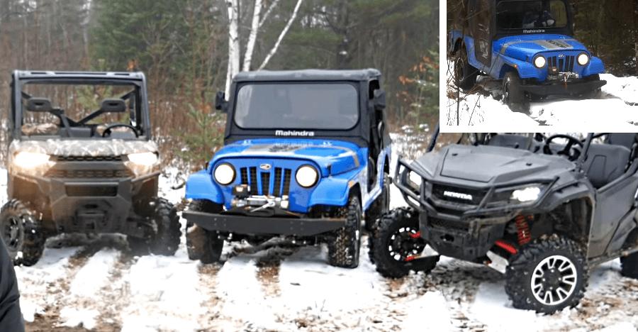 Mahindra Thar-based Roxor in showdown with Honda & Polaris ATVs through ice & snow [Video]