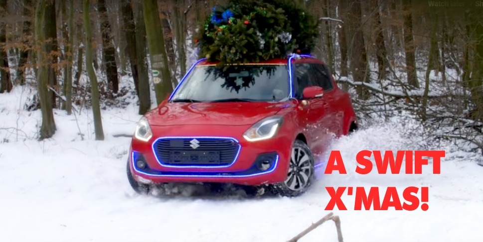 Drifting Maruti Suzuki Swift dressed as Santa Clause wishes Merry Christmas