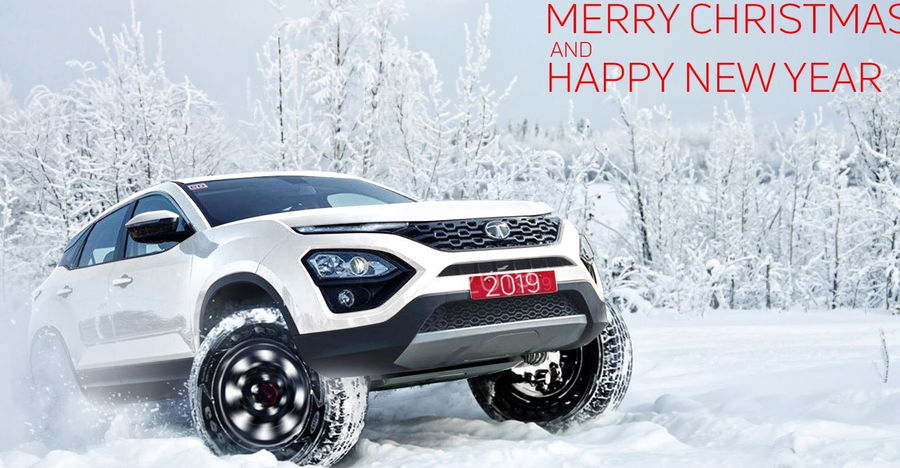 Tata's Christmas and New Year Greetings have a wild Harrier Off-road render!