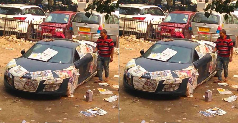Multi-crore Audi R8 supercar spotted getting painted at a roadside garage in Delhi