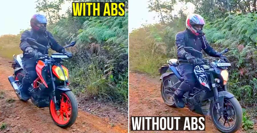 Off-roading KTM Dukes show the MASSIVE difference between ABS & non-ABS bikes [Video]