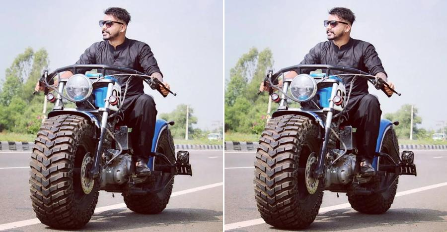Modified Royal Enfield motorcyle with tractor tyres is totally EXTREME [Video]