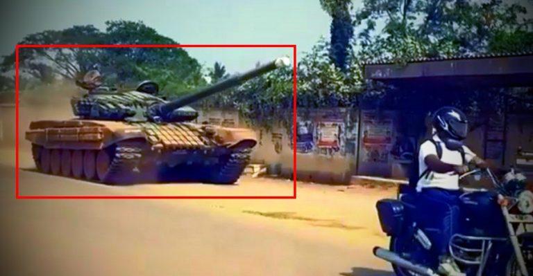 Ajeya T72 Battle Tank On An Indian Road