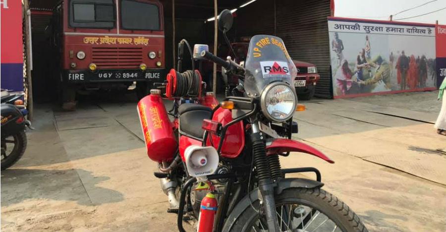 Meet the Royal Enfield Himalayan fire engine used during Kumbh Mela