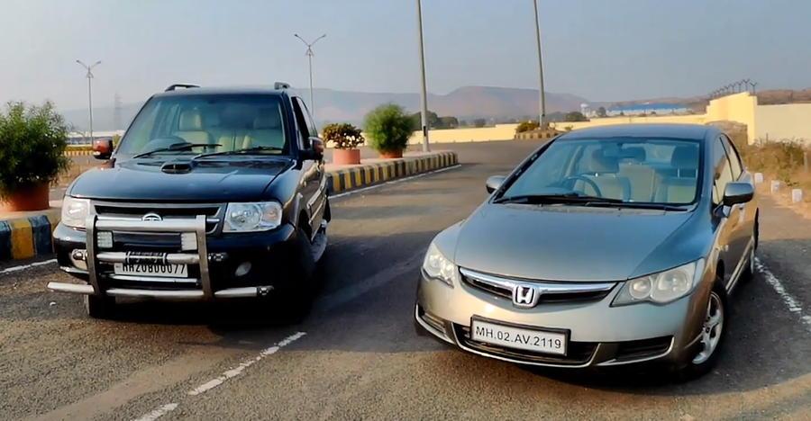 Tata Safari vs Honda Civic in a drag race: Butch SUV vs sporty sedan face-off [Video]